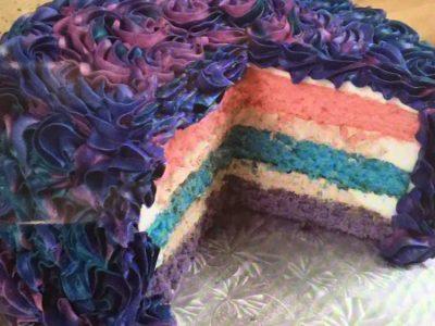 Pink Blue Swirl Cake